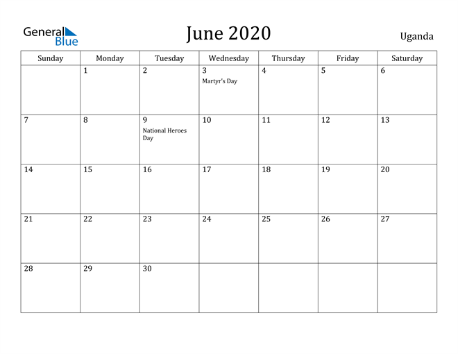 Image of June 2020 Uganda Calendar with Holidays Calendar