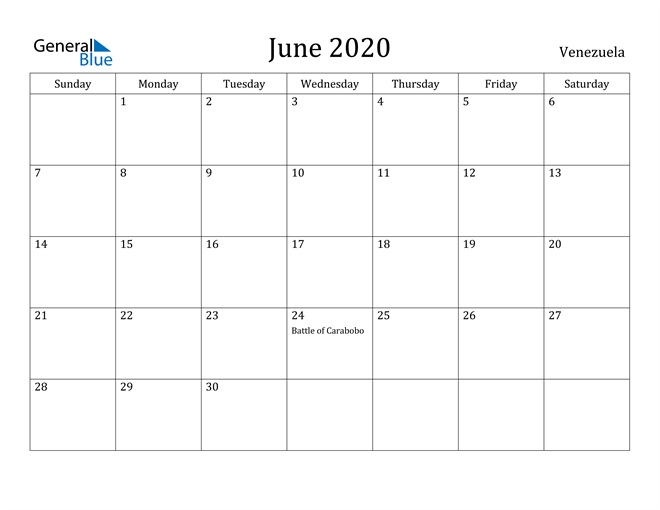 Image of June 2020 Venezuela Calendar with Holidays Calendar