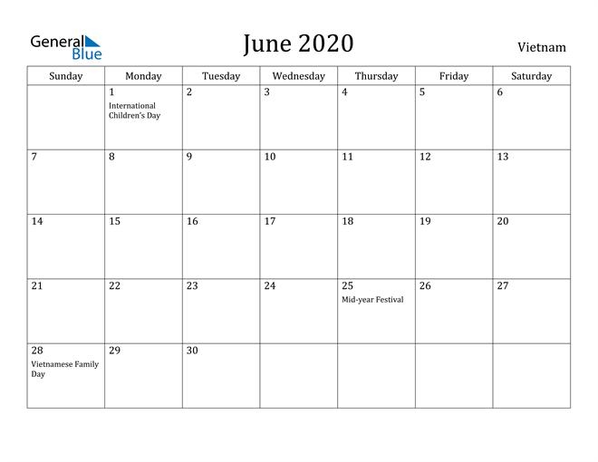 Image of June 2020 Vietnam Calendar with Holidays Calendar