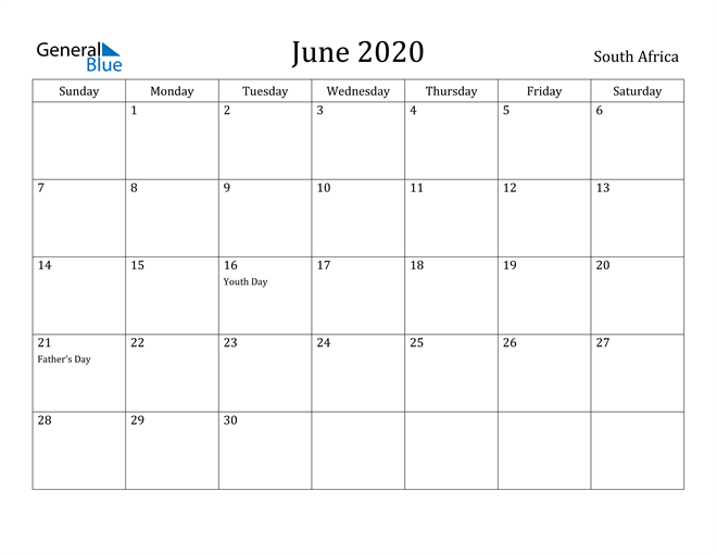 Image of June 2020 South Africa Calendar with Holidays Calendar