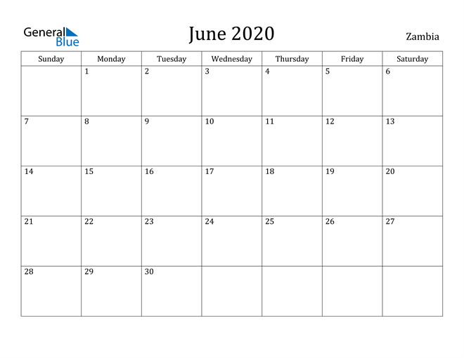 Image of June 2020 Zambia Calendar with Holidays Calendar