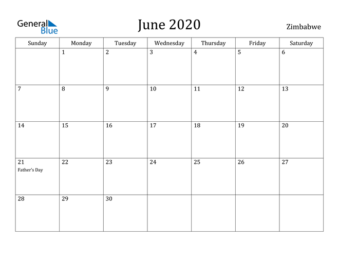 Image of June 2020 Zimbabwe Calendar with Holidays Calendar