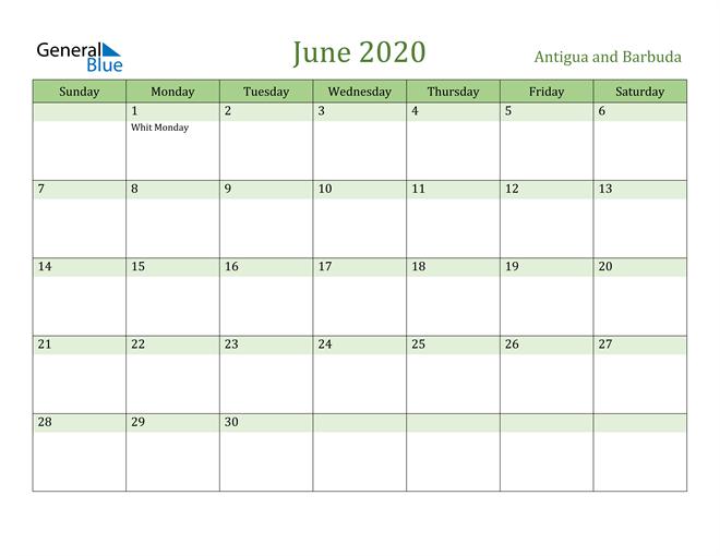 Image of June 2020 Cool and Relaxing Green Calendar Calendar