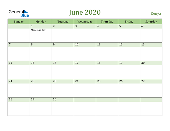 Image of June 2020 Cool and Relaxing Green Calendar Calendar