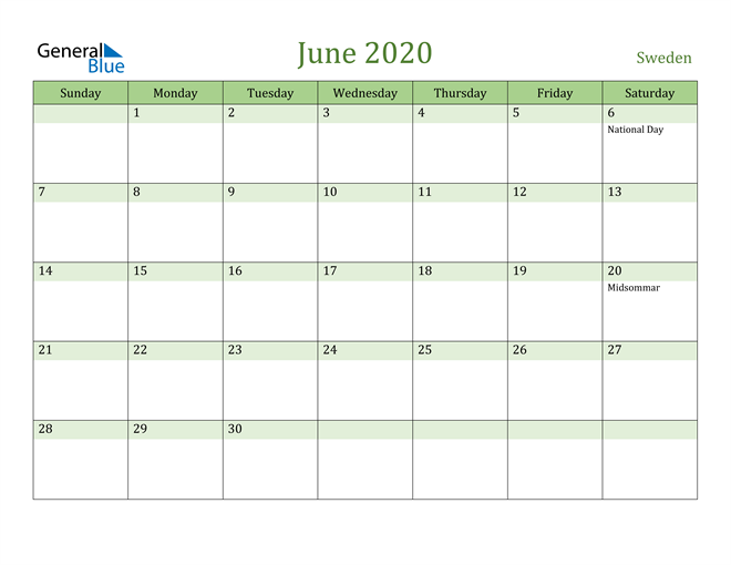 June 2020 Calendar with Sweden Holidays
