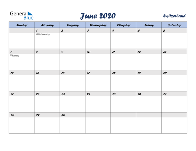 June 2020 Calendar with Holidays