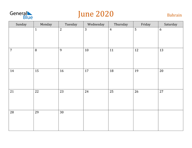 Image of June 2020 Contemporary Orange PDF, Word and Excel Calendar Calendar
