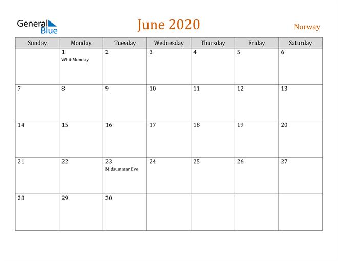 Image of June 2020 Contemporary Orange PDF, Word and Excel Calendar Calendar