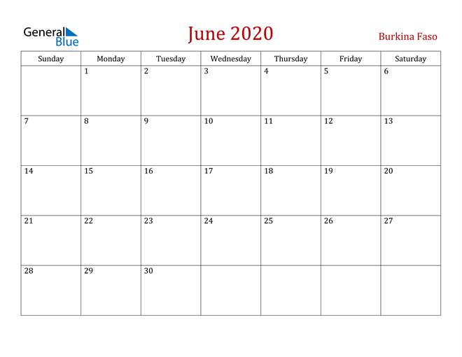 Image of June 2020 Dark and Red Professional Office Calendar Calendar