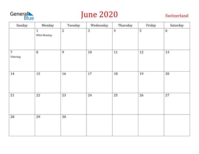 Switzerland June 2020 Calendar