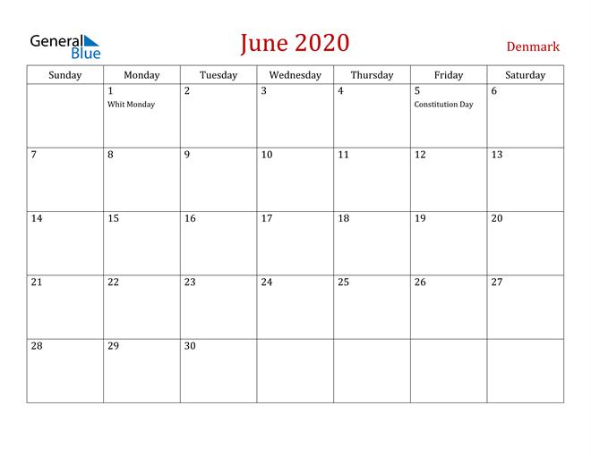 Denmark June 2020 Calendar
