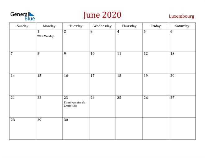 Luxembourg June 2020 Calendar
