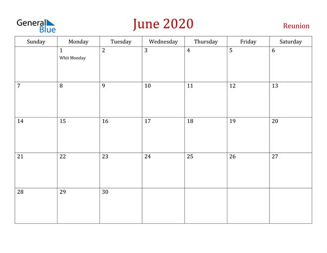 Reunion June 2020 Calendar