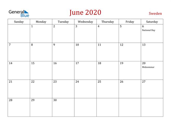 Sweden June 2020 Calendar