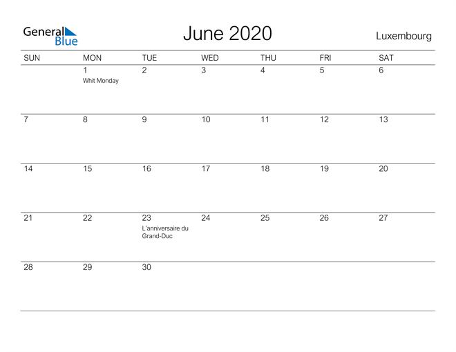 Image of June 2020 A Streamlined Design, The Perfect Printable Calendar. Calendar