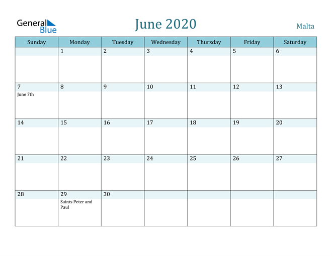 June 2020 Calendar with Holidays in PDF, Word, and Excel