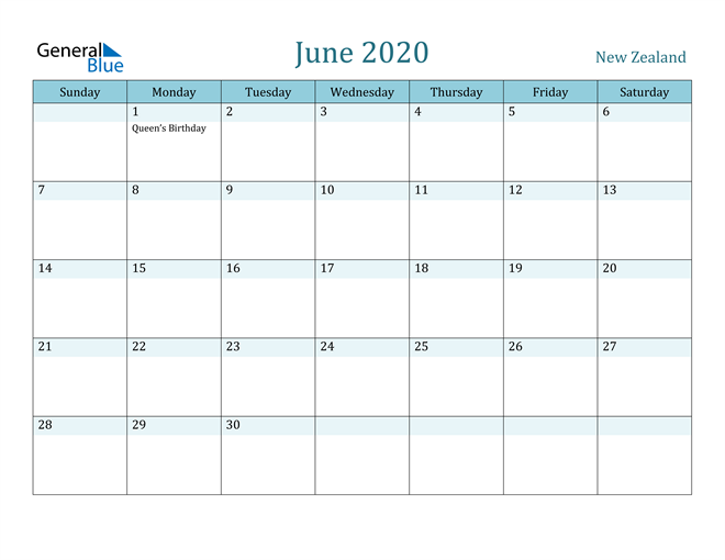 Image of June 2020 Colorful Turquoise Calendar in PDF, Word and Excel Calendar