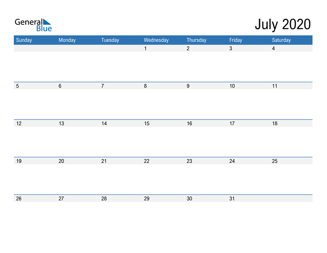 Fillable Calendar for July 2020