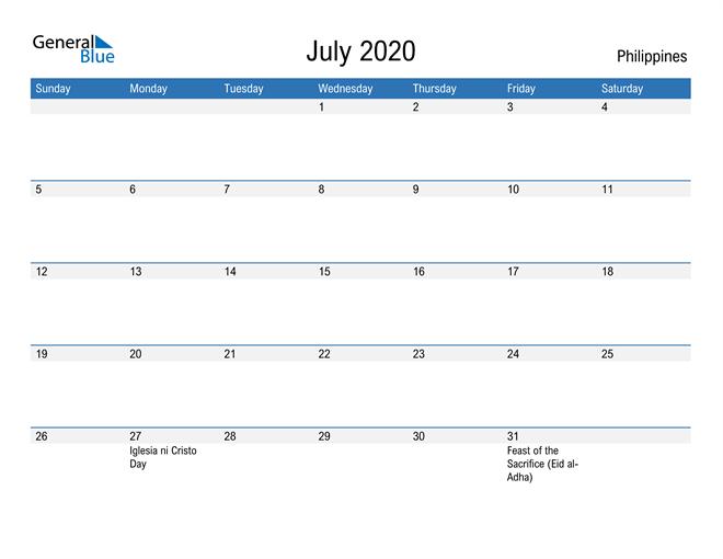 Fillable July 2020 Calendar