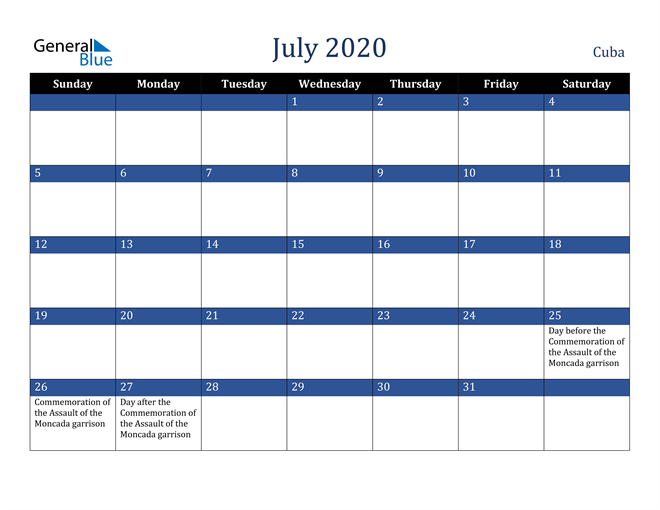Image of July 2020 Stylish Dark Blue Calendar in PDF, Word and Excel Calendar