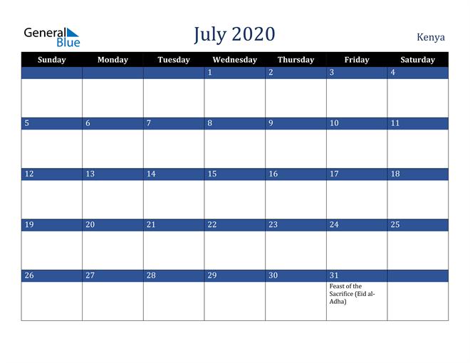 July 2020 Kenya Calendar