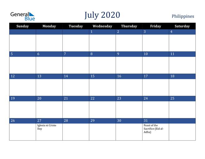 July 2020 Philippines Calendar