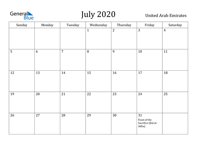 Image of July 2020 United Arab Emirates Calendar with Holidays Calendar