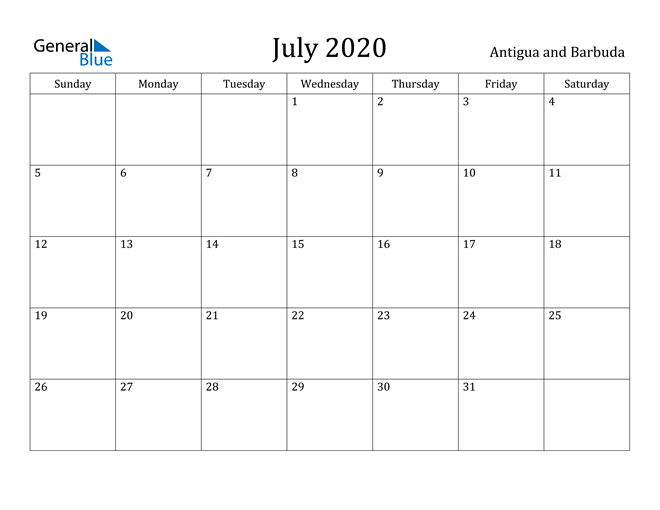 Image of July 2020 Antigua and Barbuda Calendar with Holidays Calendar