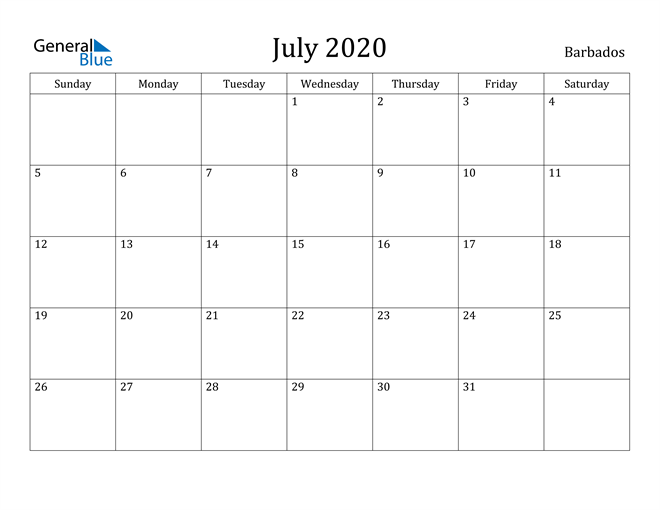 Image of July 2020 Barbados Calendar with Holidays Calendar