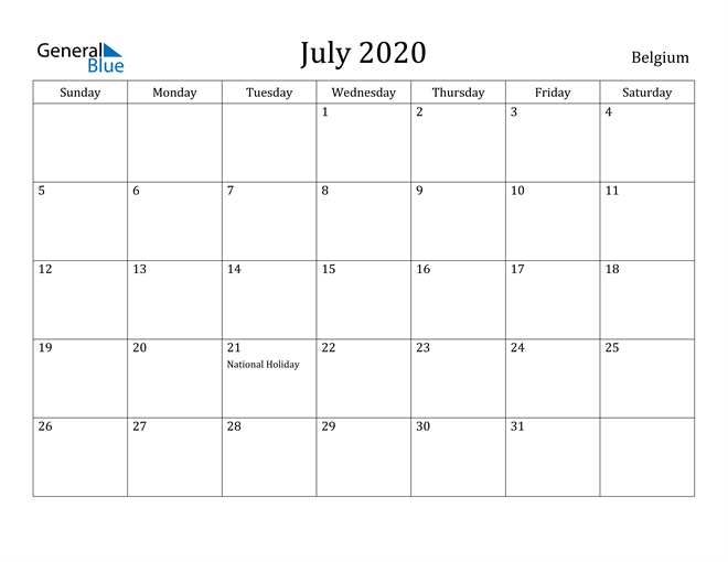 Image of July 2020 Belgium Calendar with Holidays Calendar
