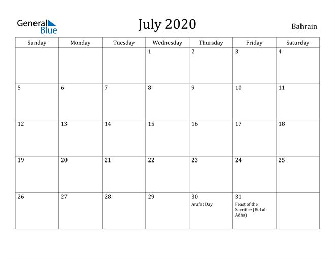 Image of July 2020 Bahrain Calendar with Holidays Calendar