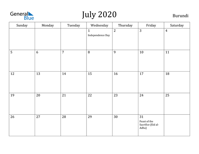 Image of July 2020 Burundi Calendar with Holidays Calendar