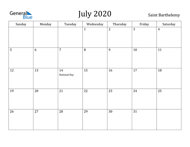 Image of July 2020 Saint Barthelemy Calendar with Holidays Calendar