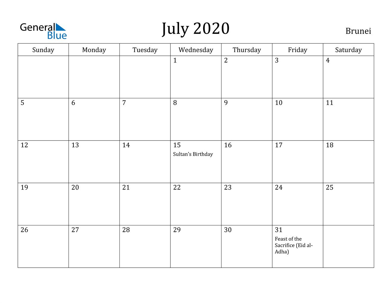 July 2020 Calendar - Brunei