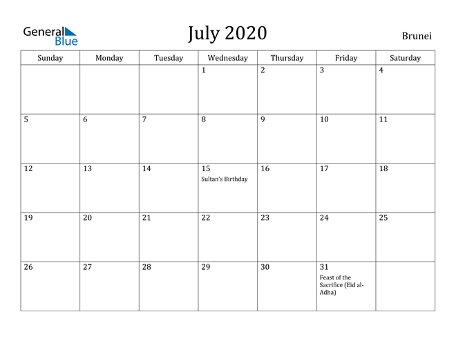 Image of July 2020 Brunei Calendar with Holidays Calendar