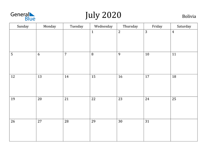 Image of July 2020 Bolivia Calendar with Holidays Calendar