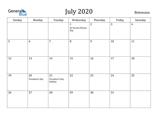Image of July 2020 Botswana Calendar with Holidays Calendar