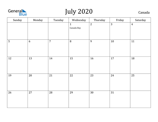 Image of July 2020 Canada Calendar with Holidays Calendar