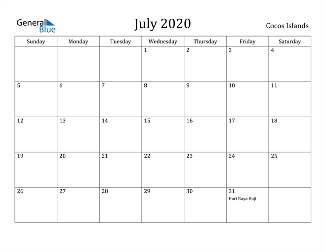 Image of July 2020 Cocos Islands Calendar with Holidays Calendar