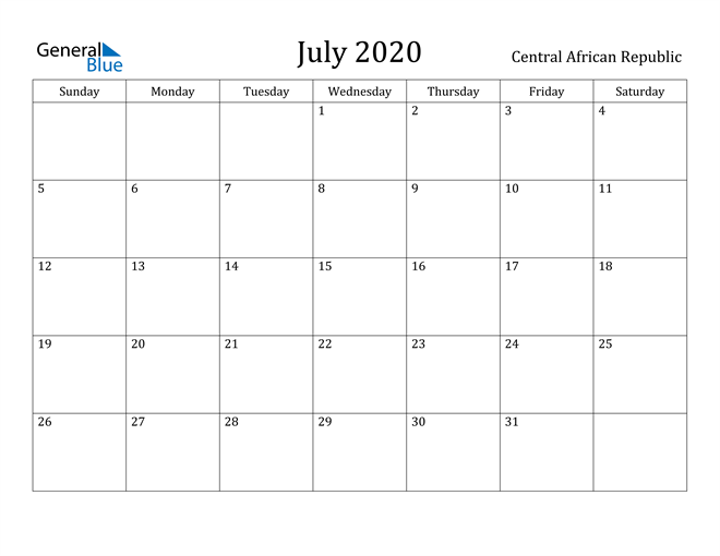 Image of July 2020 Central African Republic Calendar with Holidays Calendar