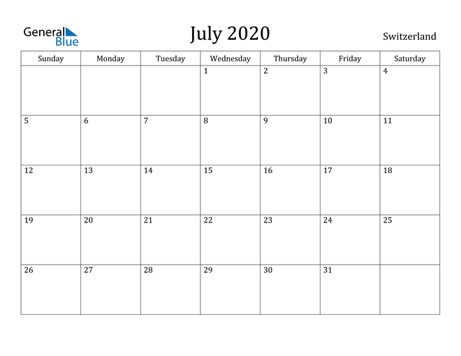Image of July 2020 Switzerland Calendar with Holidays Calendar