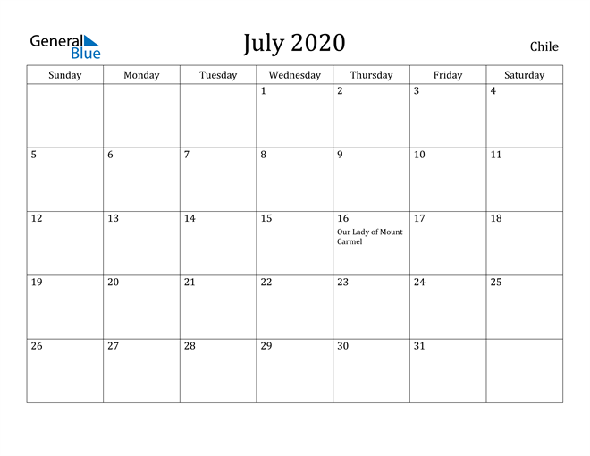 Image of July 2020 Chile Calendar with Holidays Calendar