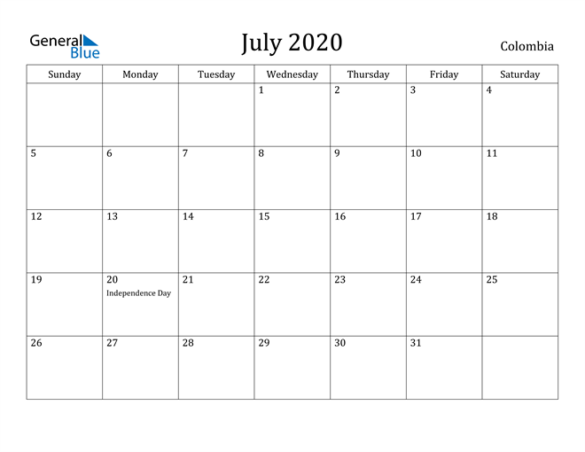 Image of July 2020 Colombia Calendar with Holidays Calendar