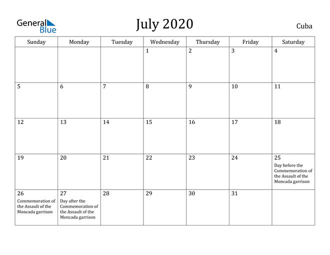 Image of July 2020 Cuba Calendar with Holidays Calendar