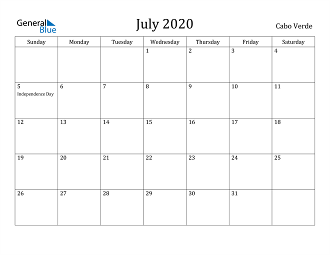Image of July 2020 Cabo Verde Calendar with Holidays Calendar