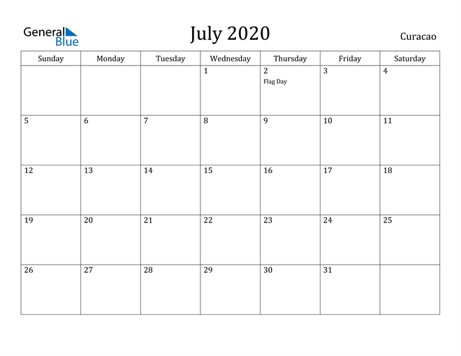 Image of July 2020 Curacao Calendar with Holidays Calendar