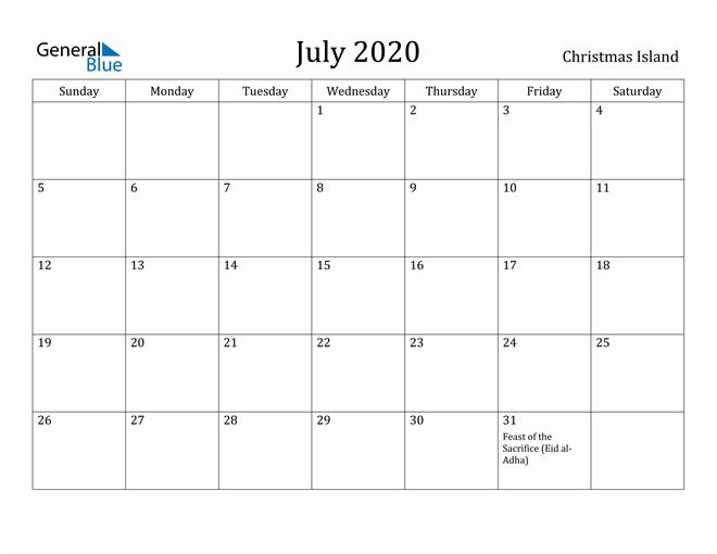 July 2020 Calendar Christmas Island