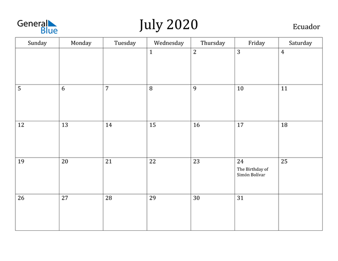 Image of July 2020 Ecuador Calendar with Holidays Calendar