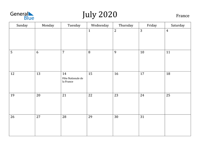 Image of July 2020 France Calendar with Holidays Calendar