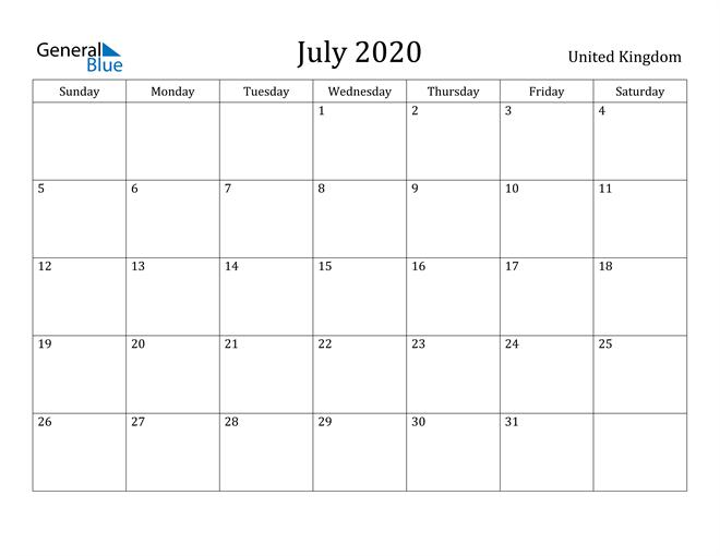 Image of July 2020 United Kingdom Calendar with Holidays Calendar